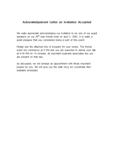 초대 승낙에 대한 편지(Acknowledgement Letter on Invitation Accepted)