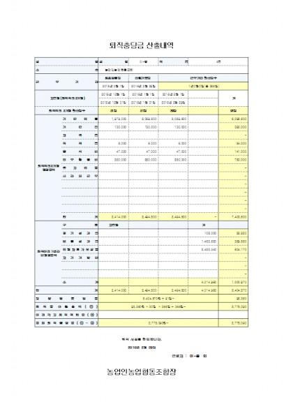 퇴직충당금 산출내역 작성 관리 프로그램(DB형 기업용 근무기간 포함)