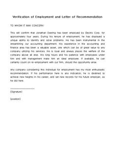 채용확인서 및 추천서(Verification of Employment and Letter of Recommendation)