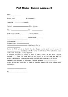 페스트(해충) 통제서비스 계약서(Pest Control Service Agreement)