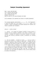 (영문) 컨설팅 계약서(Sample Consulting Agreement)