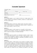 (영문) 컨설팅 계약서(Consultant Agreement)