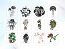 파워포인트 클립아트 화분, 꽃다발, 국화