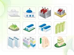 파워포인트 클립아트 국회의사당, 공장, 아파트, 피라미드