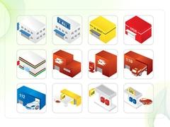 파워포인트 클립아트 쇼핑몰, 우체국, 경찰서, 주유소, 학교