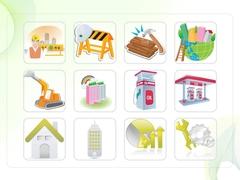 파워포인트 클립아트 안전사고, 굴삭기, 주유소, 공구