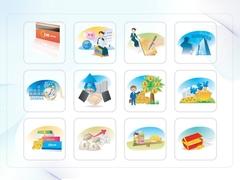 파워포인트 클립아트 적립카드, 악수, 돈, 계산기