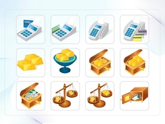 파워포인트 클립아트 황금, 신용카드, 돈가방, 카드리더기