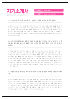 전문가 자기소개서(공무원/경찰직) - 신입경력, 남녀, 대졸
