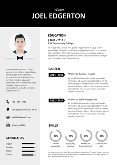 영문 이력서 (Waiter(Food service) resume)