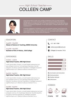 영문 이력서 (High School Teacher(Education) resume)
