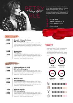 영문 이력서 (Makeup Artist(Artist) resume)