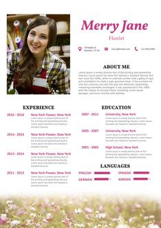 영문 이력서 (Florist(Art) resume)