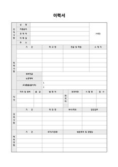 이력서 및 자기소개서(자격/외국어/해외경험)
