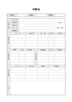 이력서 및 자기소개서(어학능력/자격면허/경력/기타)