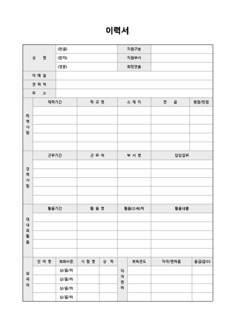 이력서 및 자기소개서(대내외활동/어학성적/자격면허)