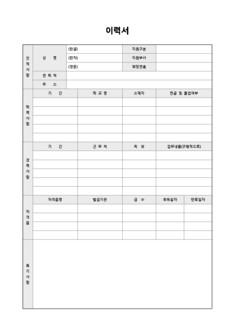 이력서 및 자기소개서(자격증/특기사항 서술형)