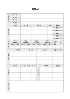 이력서 및 자기소개서(성적사항/외국어/자격증/특기사항)