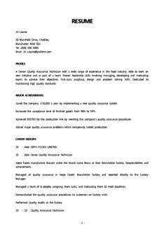 영문 이력서(품질관리/책임자)