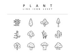 식물 라인 아이콘 3종세트