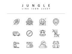 정글 라인 아이콘 3종세트