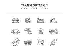 운송수단 라인 아이콘 3종세트(1)