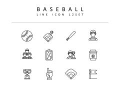 야구 라인 아이콘 3종세트