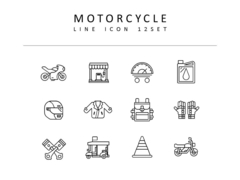 오토바이 라인 아이콘 3종세트