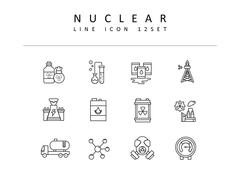 원자력 라인 아이콘 3종세트