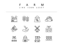 농장 라인 아이콘 3종세트