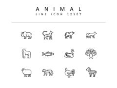동물 라인 아이콘 3종세트