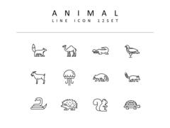 동물 라인 아이콘 3종세트(2)