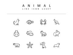 동물 라인 아이콘 3종세트(5)