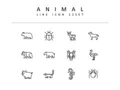 동물 라인 아이콘 3종세트(6)