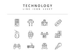 기술 라인 아이콘 3종세트