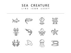 바다생물 라인 아이콘 3종세트