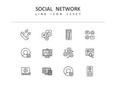 소셜네트워크 라인 아이콘 3종세트