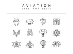 항공 라인 아이콘 3종세트