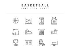 농구 라인 아이콘 3종세트