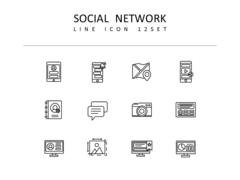 소셜네트워크 라인 아이콘 3종세트(1)