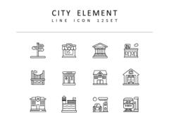 도시 라인 아이콘 3종세트