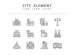 도시 라인 아이콘 3종세트(1)