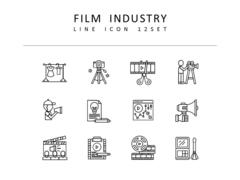 영화산업 라인 아이콘 3종세트