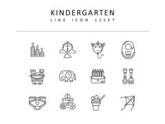 유치원 라인 아이콘 3종세트