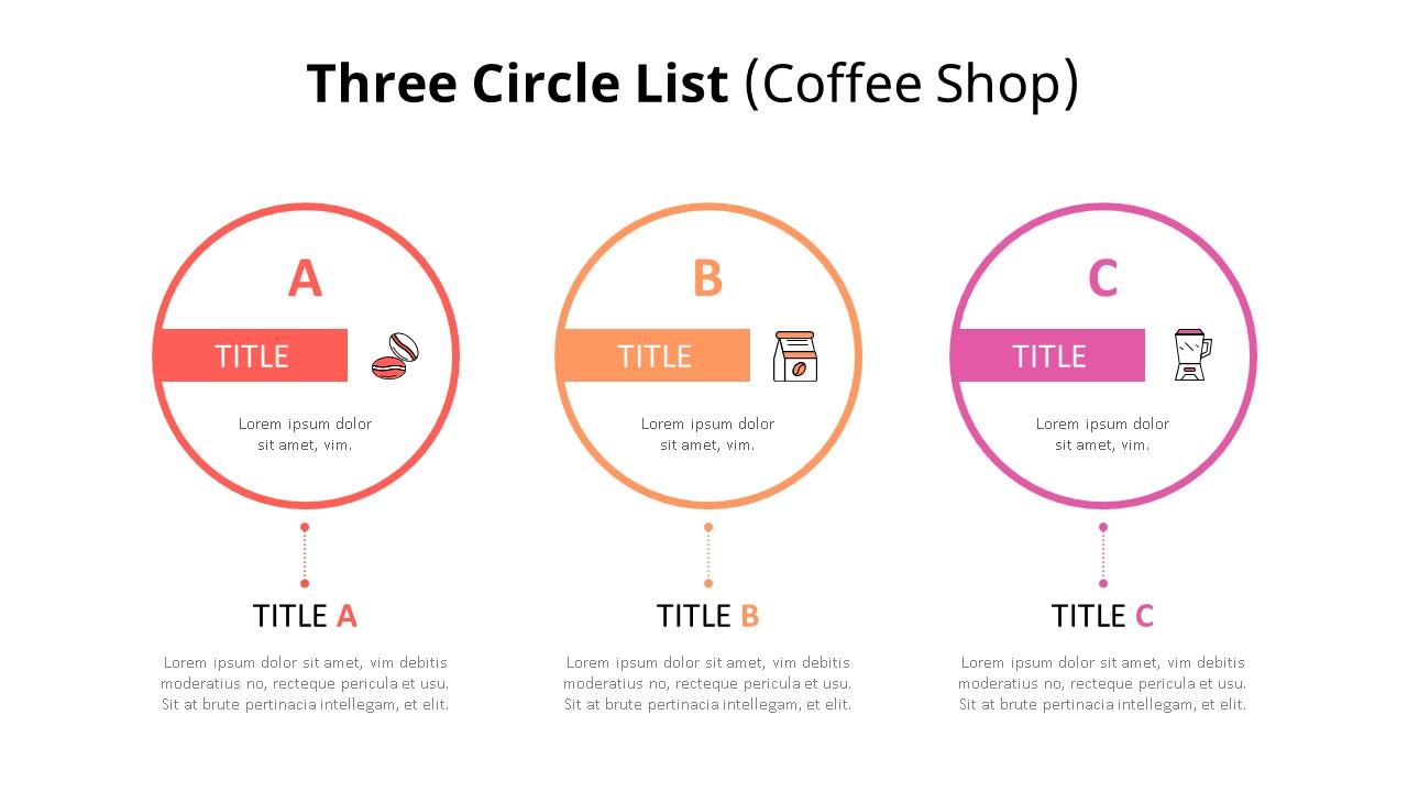3 Circle 목록형 다이어그램 (Coffee Shop)-미리보기
