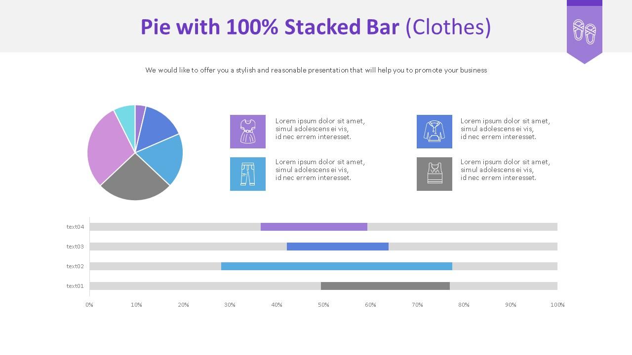 원형 & 100% 누적 가로막대 Chart (의류)-미리보기