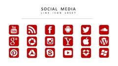 소셜 미디어 라인 아이콘 3종세트