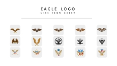 독수리 로고 라인 아이콘 3종세트