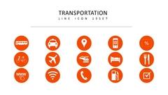 교통수단 라인 아이콘 3종세트