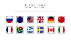 국기 라인 아이콘 3종세트